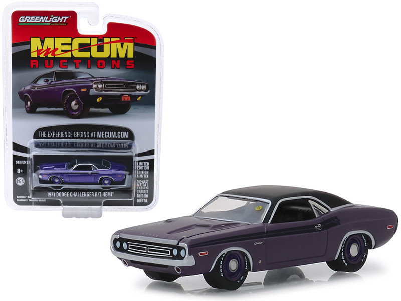 1971 Dodge HEMI Challenger R/T Plum Crazy Metallic Black Top Stripes Houston 2018 Mecum Auctions Collector Cars Series 3 1/64 Diecast Model Car Greenlight 37170 D
