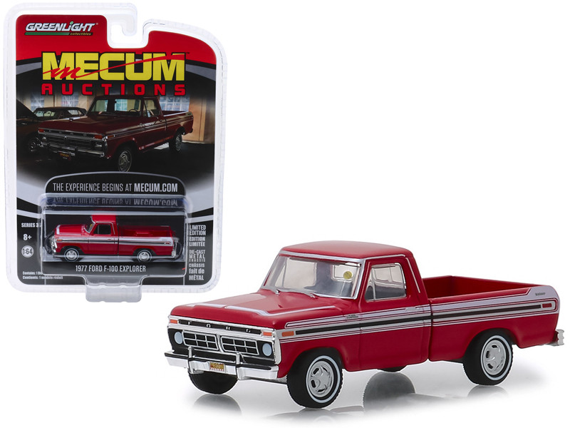1977 Ford F-100 Explorer Pickup Truck Red White Stripes Kissimmee 2018 Mecum Auctions Collector Cars Series 3 1/64 Diecast Model Car Greenlight 37170 F