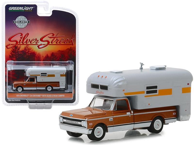 1970 Chevrolet C-10 Cheyenne Brown Silver Streak Camper White Hobby Exclusive 1/64 Diecast Model Car Greenlight 30023