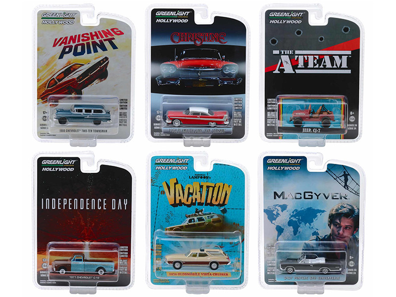 Hollywood Series Release 24 Set 6 Cars 1/64 Diecast Models Greenlight 44840