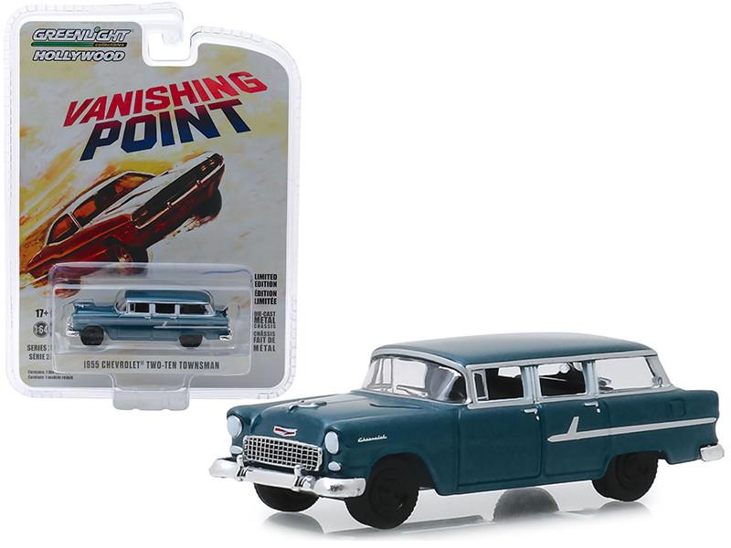 1955 Chevrolet Two-Ten Townsman Dark Blue Vanishing Point 1971 Movie Hollywood Series Release 24 1/64 Diecast Model Car Greenlight 44840 A