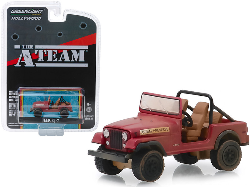 Jeep CJ-7 Red Animal Preserve The A-Team 1983 1987 TV Series Hollywood Series Release 24 1/64 Diecast Model Car Greenlight 44840 C