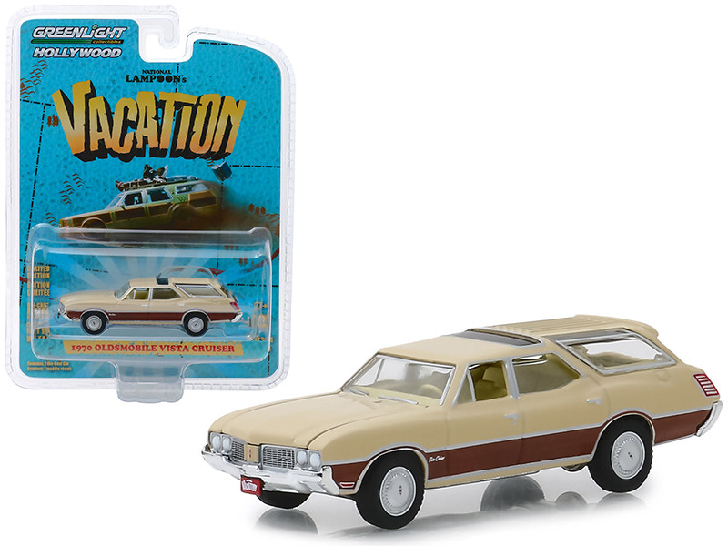1970 Oldsmobile Vista Cruiser Cream National Lampoon's Vacation 1983 Movie Hollywood Series Release 24 1/64 Diecast Model Car Greenlight 44840 E