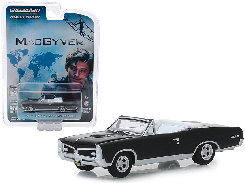 1967 Pontiac GTO Convertible Black MacGyver 2016 TV Series Hollywood Series Release 24 1/64 Diecast Model Car Greenlight 44840 F