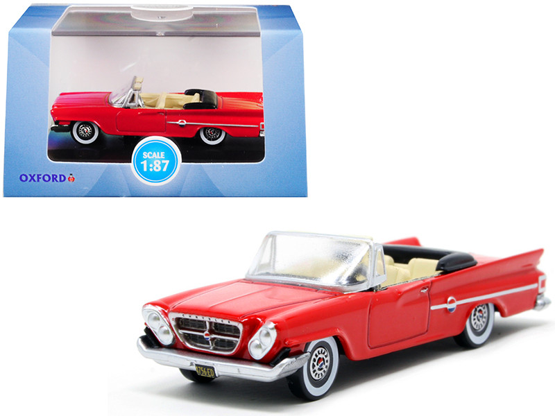1961 Chrysler 300 Convertible Mardi Gras Red 1/87 HO Scale Diecast Model Car Oxford Diecast 87CC61001