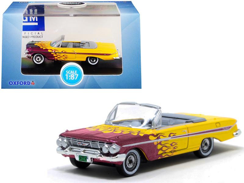 1961 Chevrolet Impala Convertible Yellow Purple Flames Hot Rod 1/87 HO Scale Diecast Model Car Oxford Diecast 87CI61004