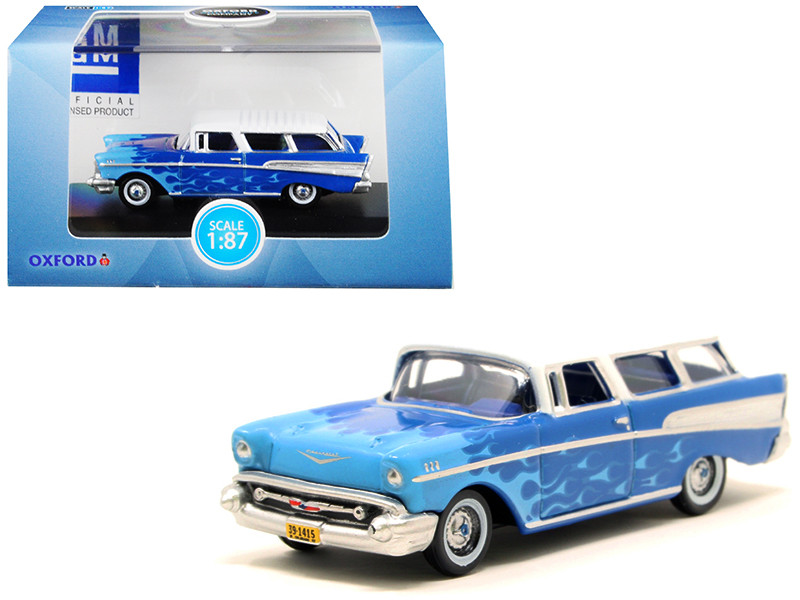 1957 Chevrolet Nomad Blue Light Blue Flames White Top Hot Rod 1/87 HO Scale Diecast Model Car Oxford Diecast 87CN57005