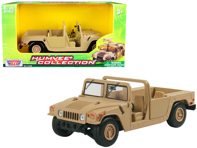 Humvee Military Base Platform Brown 1/24 Diecast Model Car Motormax 73296
