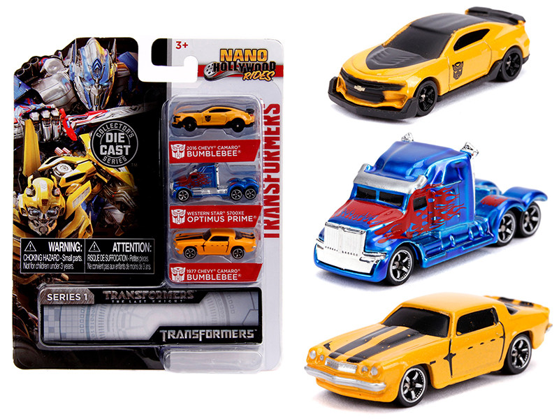 Transformers 3 piece Set Nano Hollywood Rides Series 1 1/65 Diecast Models Jada 31125