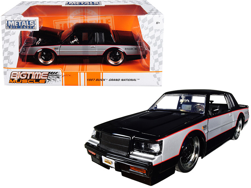 1987 Buick Grand National Black Silver Big Time Muscle 1/24 Diecast Model Car Jada 30528