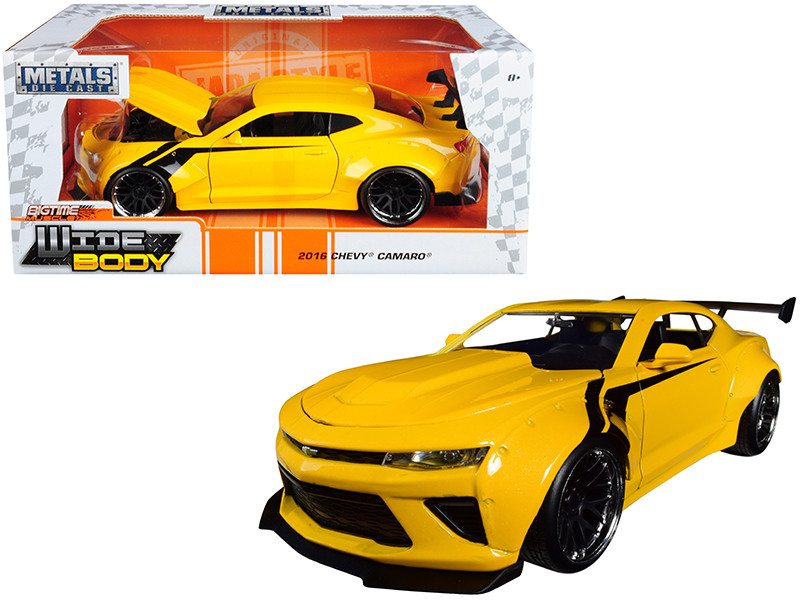 2016 Chevrolet Camaro Widebody Metallic Yellow Black Stripes Big Time Muscle 1/24 Diecast Model Car Jada 31064