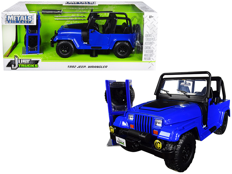 1992 Jeep Wrangler Dark Blue Extra Wheels Just Trucks Series 1/24 Diecast Model Car Jada 31059