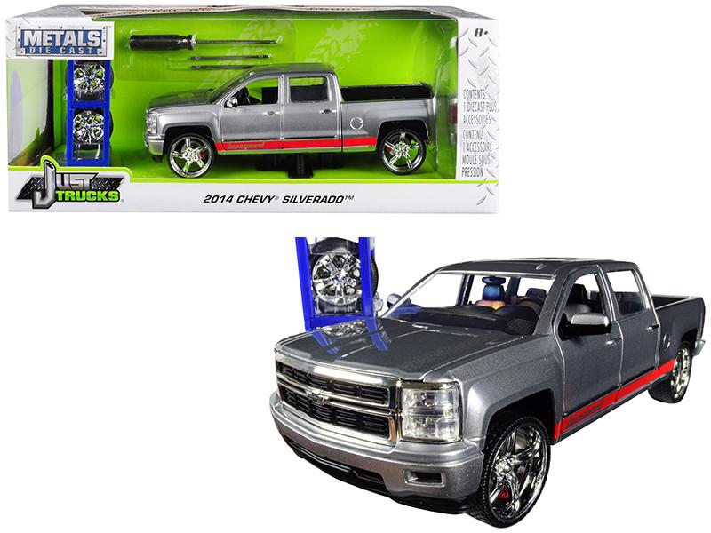 2014 Chevrolet Silverado Pickup Truck bonspeed Silver Red Stripes Extra Wheels Just Trucks Series 1/24 Diecast Model Car Jada 31060