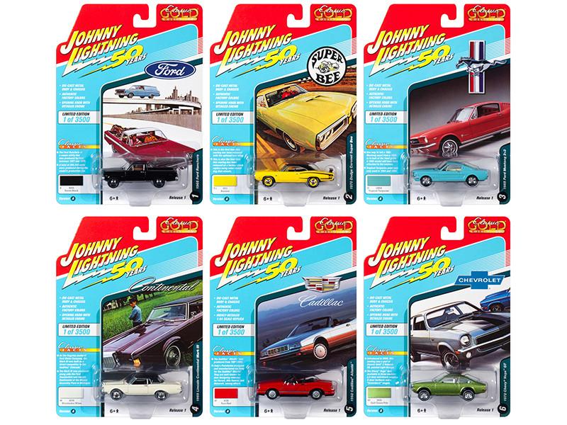 Classic Gold 2019 Release 1 Set A 6 Cars 1/64 Diecast Models Johnny Lightning JLCG019 A