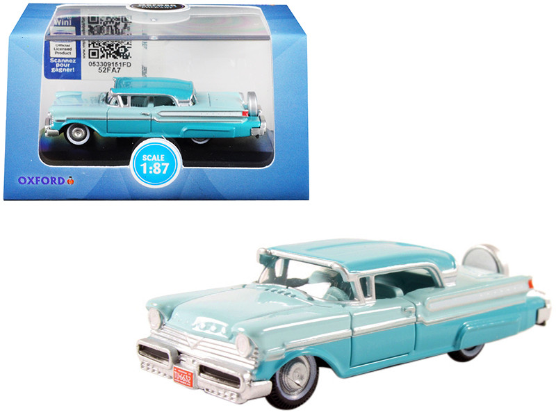 1957 Mercury Turnpike Tahitian Green Spring Valley Green 1/87 HO Scale Diecast Model Car Oxford Diecast 87MT57004