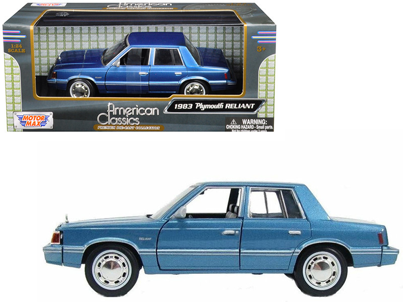 1983 Plymouth Reliant Blue 1/24 Diecast Car Model Motormax 73336