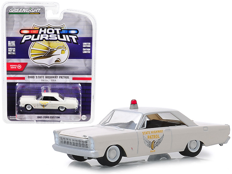 1965 Ford Custom Ohio State Highway Patrol Cream Hot Pursuit Series 31 1/64 Diecast Model Car Greenlight 42880 A