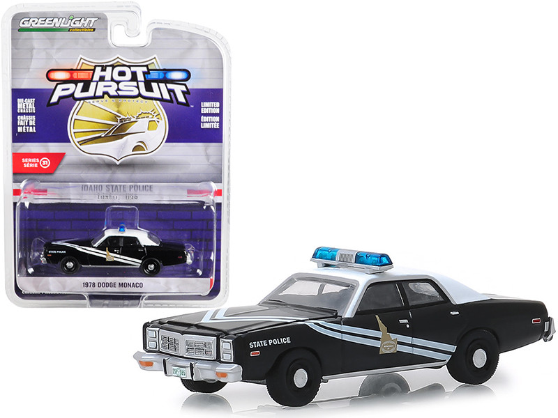 1978 Dodge Monaco Idaho State Police Black White Hot Pursuit Series 31 1/64 Diecast Model Car Greenlight 42880 C