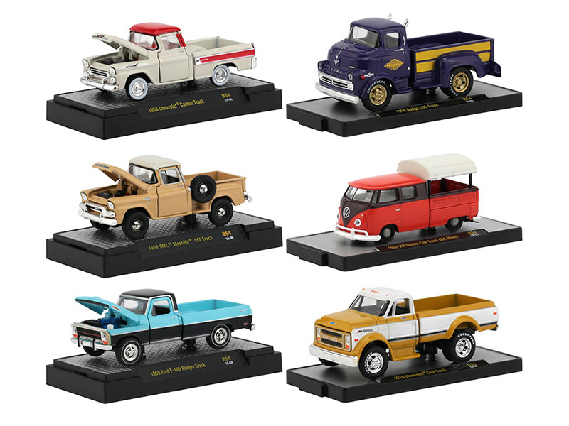 Auto Trucks 6 Pickup Trucks Set Release 54 DISPLAY CASES 1/64 Diecast Model Cars M2 Machines 32500-54
