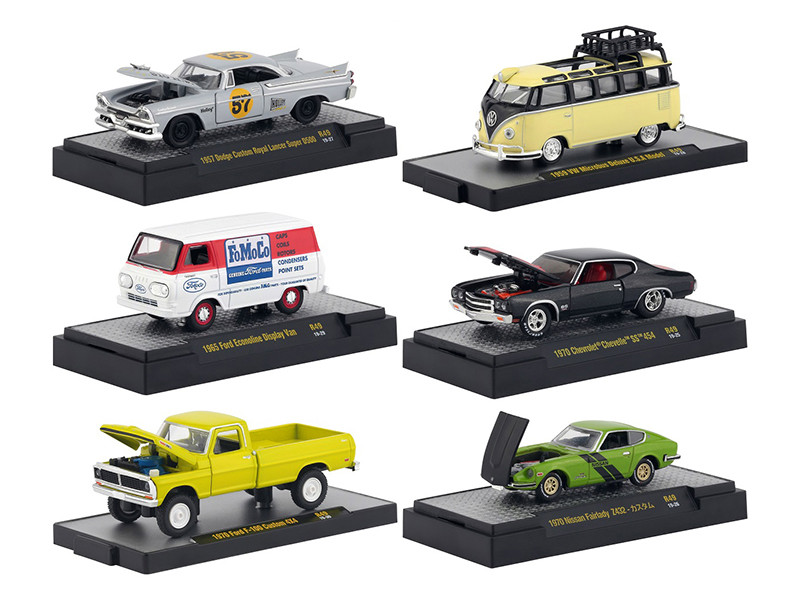 Auto Meets Release 49 Set of 6 Cars DISPLAY CASES 1/64 Diecast Model Cars M2 Machines 32600-49