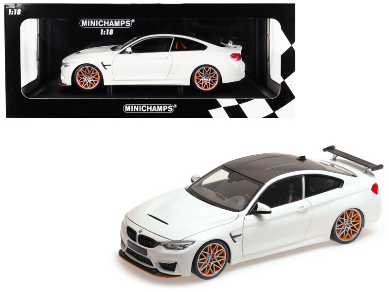 2016 BMW M4 GTS White Carbon Top Orange Wheels Limited Edition 402 pieces Worldwide 1/18 Diecast Model Car Minichamps 110025221