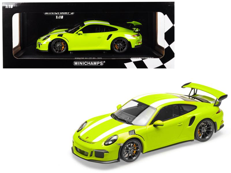 2015 Porsche 911 GT3 RS Light Green White Stripes Limited Edition 222 pieces Worldwide 1/18 Diecast Model Car Minichamps 155066224
