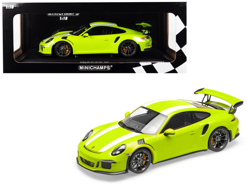 2015 Porsche 911 GT3 RS Light Green White Stripes Limited Edition 222 pieces Worldwide 1/18 Diecast Model Car Minichamps 155066224
