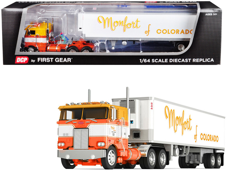 Peterbilt 352 COE Sleeper Cab 40' Vintage Thermo King Reefer Refrigerated Trailer Monfort of Colorado White Orange 23th in a Fallen Flags Series 1/64 Diecast Model DCP First Gear 60-0534
