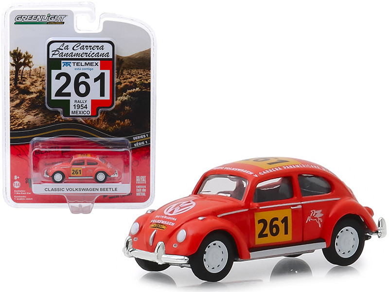 Classic Volkswagen Beetle #261 Rally Mexico 1954 La Carrera Panamericana Series 1 1/64 Diecast Model Car Greenlight 13240 A