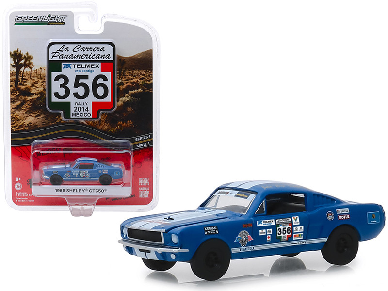 1965 Ford Mustang Shelby GT350 #356 Rally Mexico 2014 La Carrera Panamericana Series 1 1/64 Diecast Model Car Greenlight 13240 B