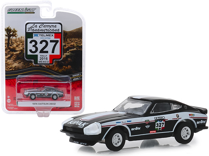 1974 Datsun 260Z #327 Rally Mexico 2016 La Carrera Panamericana Series 1 1/64 Diecast Model Car Greenlight 13240 E