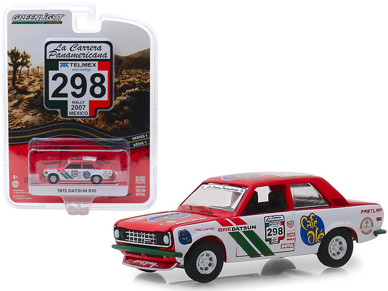 1972 Datsun 510 #298 Rally Mexico 2007 La Carrera Panamericana Series 1 1/64 Diecast Model Car Greenlight 13240 F
