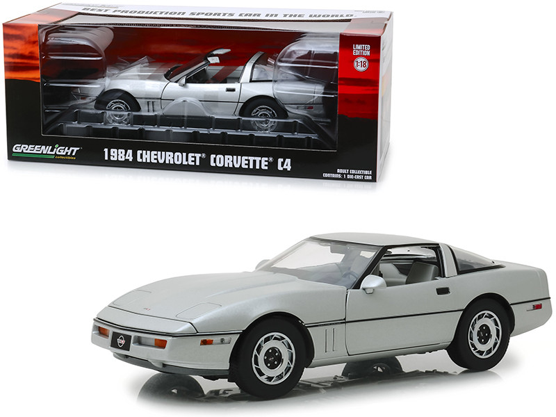 1984 Chevrolet Corvette C4 Convertible Silver Best Production Sports Car in the World Vintage Ad Cars 1/18 Diecast Model Car Greenlight 13534