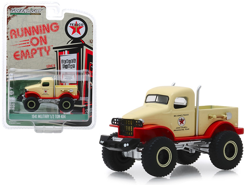 1941 Military 1/2 Ton 4x4 Pickup Truck Cream Texaco Running on Empty Series 8 1/64 Diecast Model Greenlight 41080 B