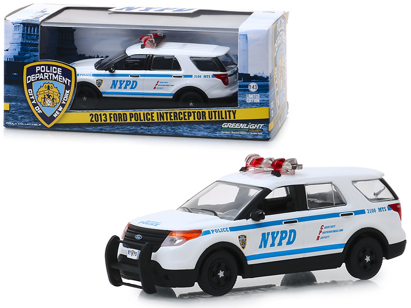 2013 Ford Police Interceptor Utility New York City Police Department NYPD White 1/43 Diecast Model Car Greenlight 86167