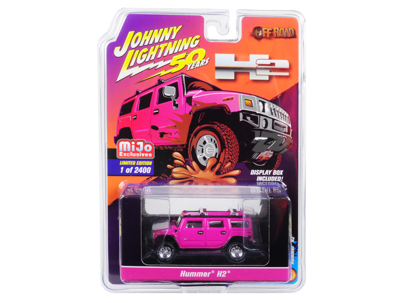 Hummer H2 Pink Off Road Johnny Lightning 50th Anniversary Limited Edition 2400 pieces Worldwide 1/64 Diecast Model Car Johnny Lightning JLCP7210
