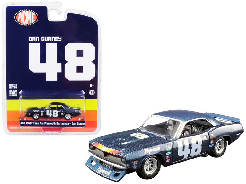 1970 Plymouth Barracuda Trans Am #48 Dan Gurney ACME Exclusive 1/64 Diecast Model Car Greenlight ACME 51263