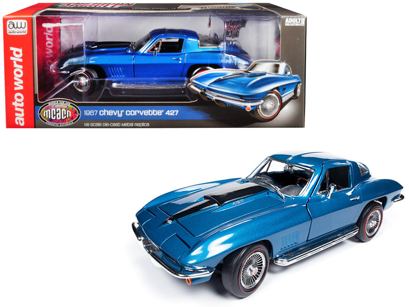 1967 Chevrolet Corvette 427 Stingray Coupe Marina Blue Metallic MCACN 10th Anniversary Muscle Car & Corvette Nationals Limited Edition 1002 pieces Worldwide 1/18 Diecast Model Car Autoworld AMM1176