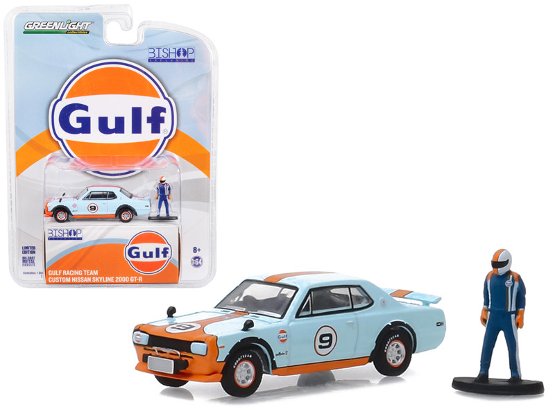 Custom Nissan Skyline 2000 GT-R #9 Gulf Racing Team Race Car Driver Figure Bishop Exclusive 1/64 Diecast Model Car Greenlight 51195 E