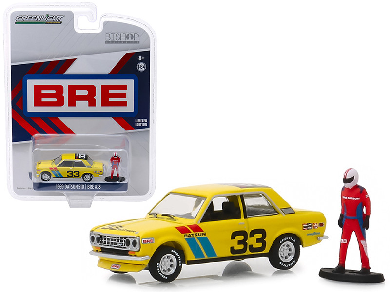 1969 Datsun 510 #33 BRE Brock Racing Enterprises Race Car Driver Figure Bishop Exclusive 1/64 Diecast Model Car Greenlight 51246 B