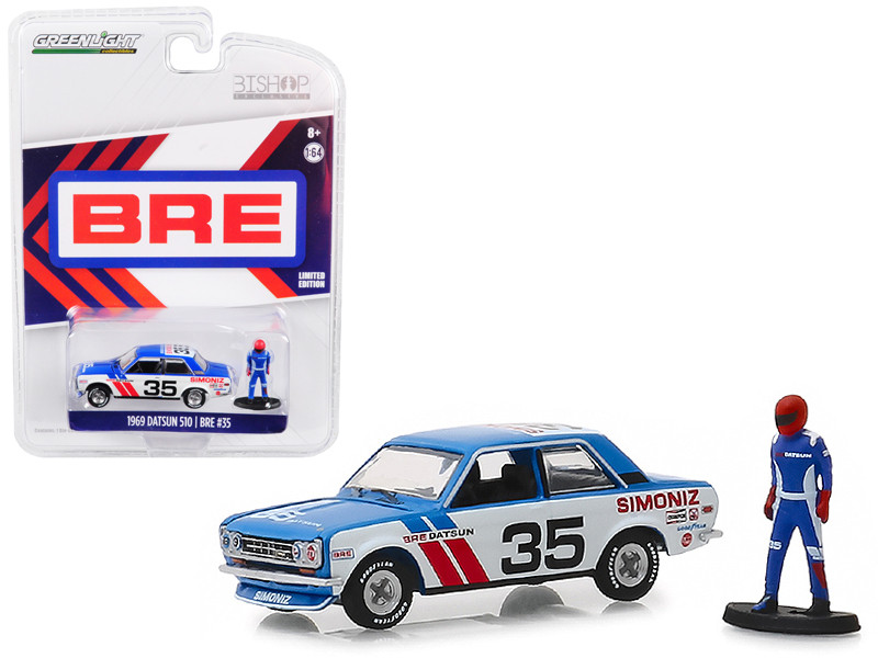 1969 Datsun 510 #35 Simoniz BRE Brock Racing Enterprises Race Car Driver Figure Bishop Exclusive 1/64 Diecast Model Car Greenlight 51246 D