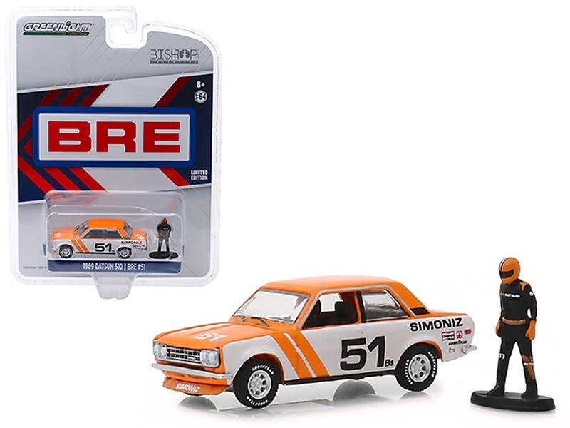 1969 Datsun 510 #51 Simoniz BRE Brock Racing Enterprises Race Car Driver Figure Bishop Exclusive 1/64 Diecast Model Car Greenlight 51246 E