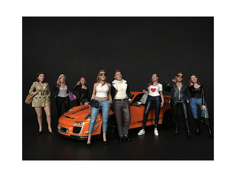 Ladies Night 8 piece Figurine Set for 1/18 Scale Models American Diorama 38189 38190 38191 38192 38193 38194 38195 38196