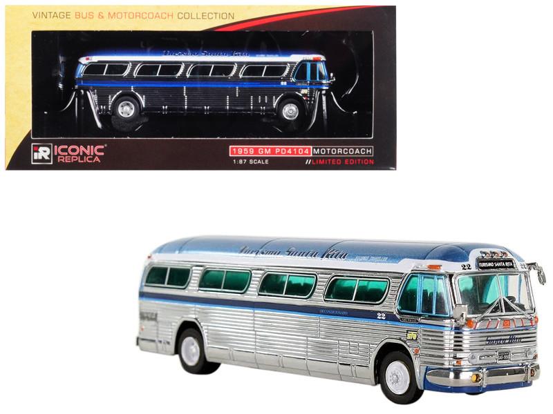 1959 GM PD4104 Motorcoach #22 Turismo Santa Rita Sao Paulo Chrome Vintage Bus Motorcoach Collection 1/87 Diecast Model Iconic Replicas 87-0144