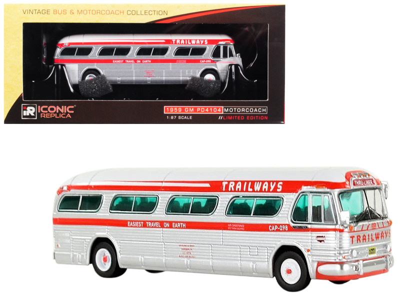 1959 GM PD4104 Motorcoach Trailways Thru Liner Easiest Travel on Earth Vintage Bus Motorcoach Collection 1/87 Diecast Model Iconic Replicas 87-0148