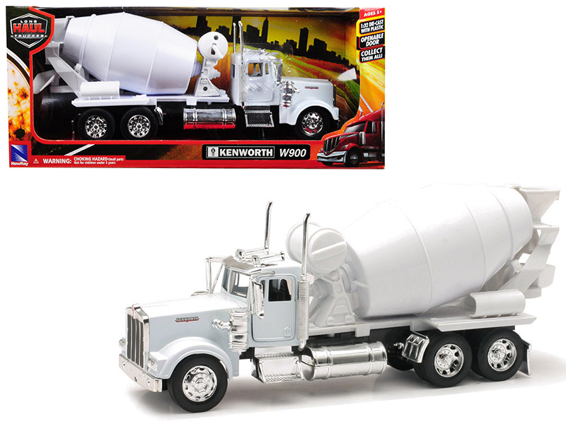 Kenworth W900 Cement Mixer Truck White 1/32 Diecast Model New Ray 10533 C