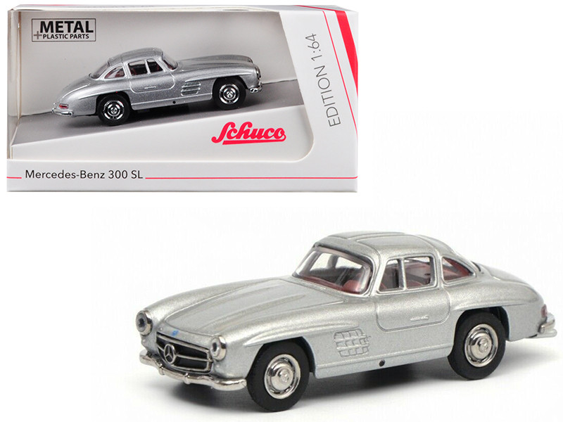 Mercedes Benz 300SL Gullwing Silver 1/64 Diecast Model Car Schuco 452015700