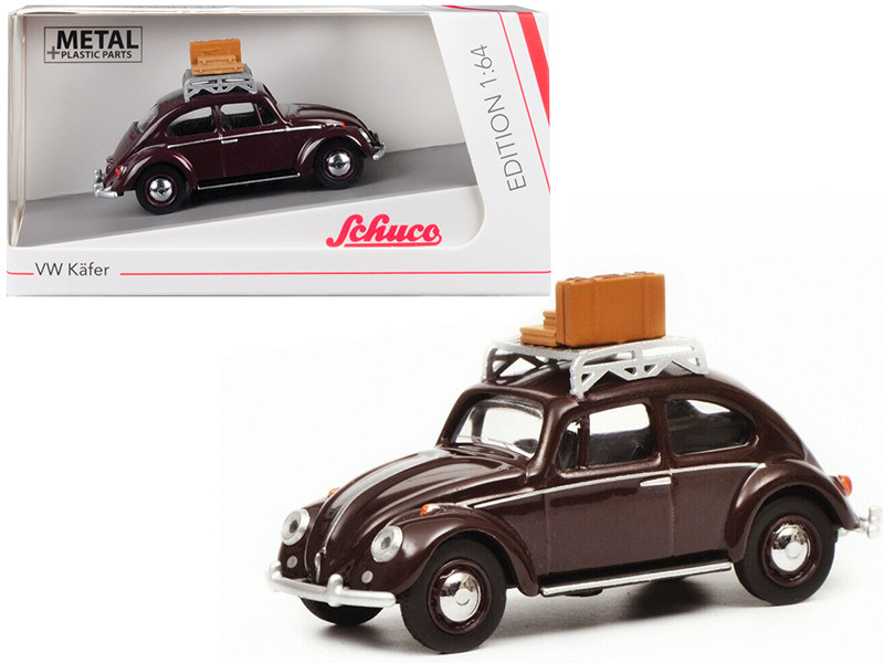 Volkswagen Beetle Kafer Roof Rack Luggage Dark Red 1/64 Diecast Model Car Schuco 452017000