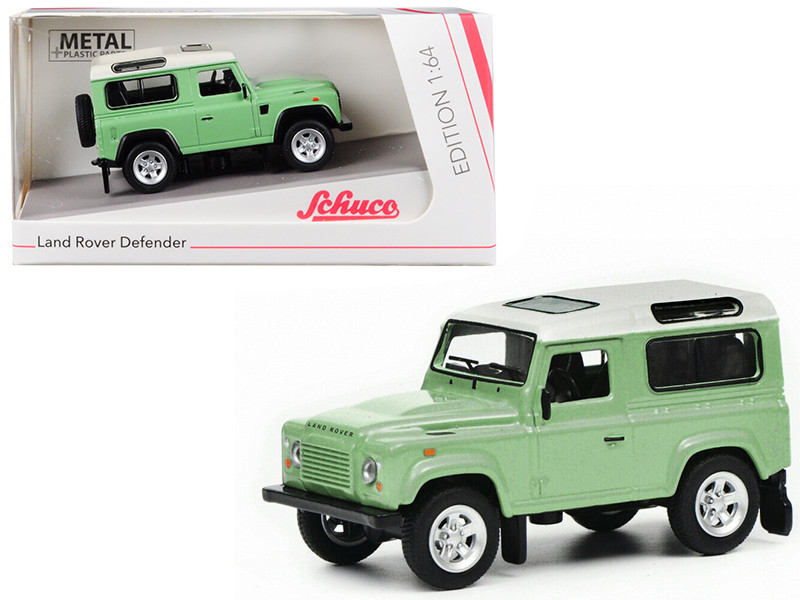 Land Rover Defender Green White Top 1/64 Diecast Model Car Schuco 452018100