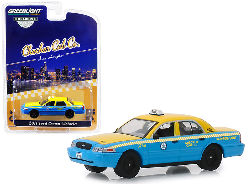 2011 Ford Crown Victoria Checker Cab Co Taxi City Los Angeles California 1/64 Diecast Model Car Greenlight 30055